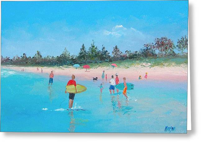 Surfing Art Print Paintings Greeting Cards - The Surfers Greeting Card by Jan Matson