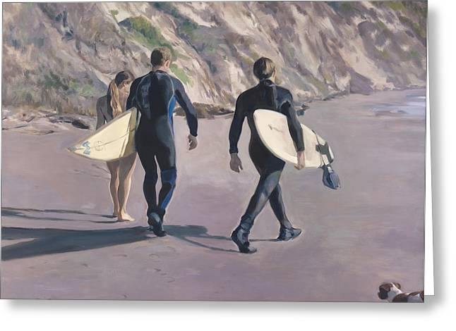 Surfer Greeting Cards - The Surfers Greeting Card by Merle Keller