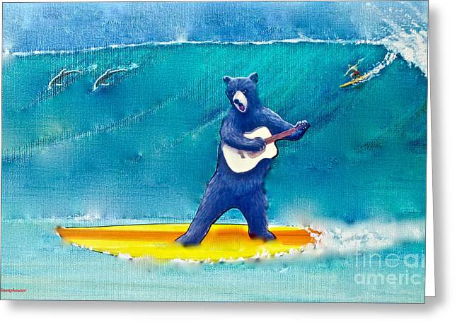The Surfing Bear Greeting Card by Jerome Stumphauzer