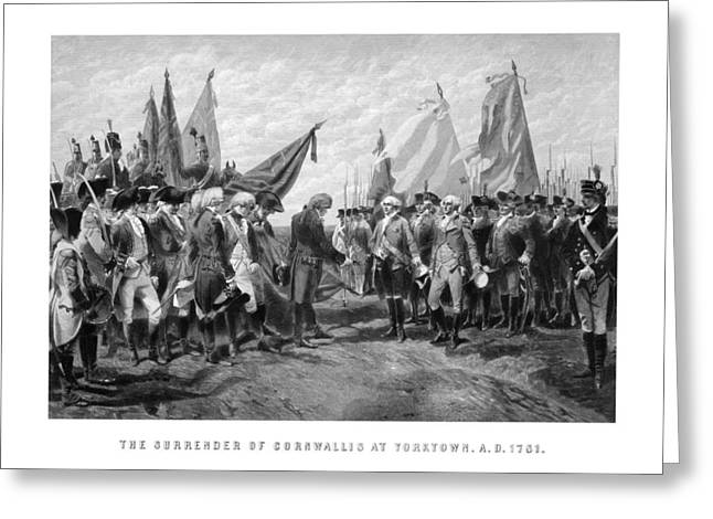 Revolutionary War Drawings Greeting Cards - The Surrender Of Cornwallis At Yorktown Greeting Card by War Is Hell Store