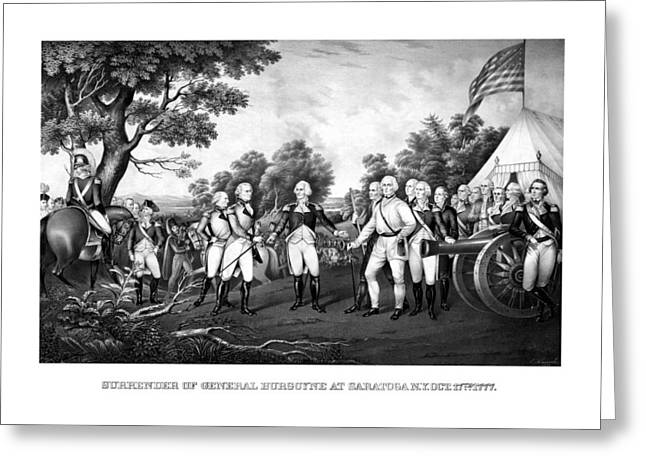 Us History Drawings Greeting Cards - The Surrender of General Burgoyne Greeting Card by War Is Hell Store