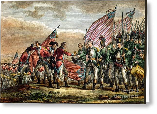 The Surrender Of General John Burgoyne At The Battle Of Saratoga Greeting Card by Godefroy