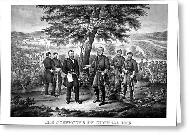 American Civil War Drawings Greeting Cards - The Surrender Of General Lee  Greeting Card by War Is Hell Store