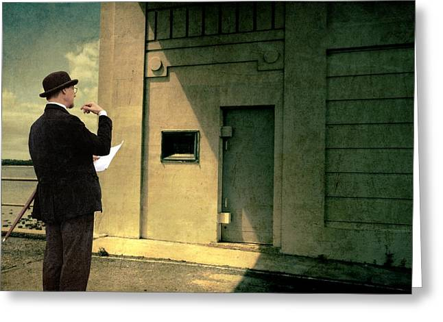 Art Deco Greeting Cards - The Surveyor Greeting Card by Mel Brackstone