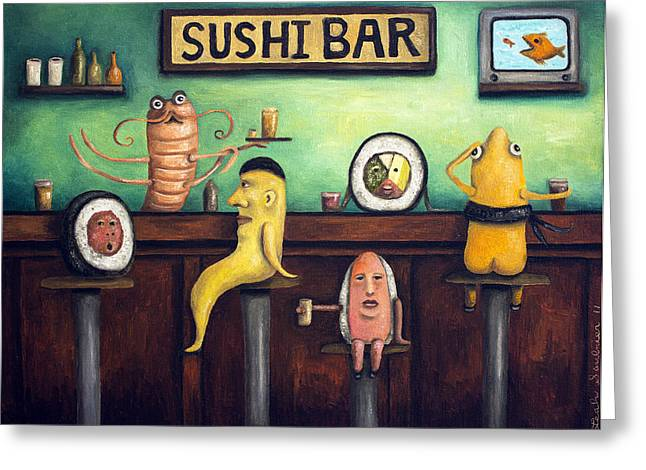 Cantina Greeting Cards - The Sushi Bar Greeting Card by Leah Saulnier The Painting Maniac