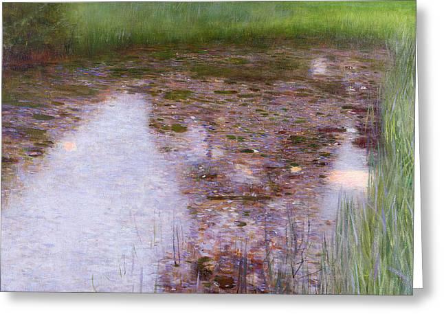 Violet Art Greeting Cards - The Swamp Greeting Card by Gustav Klimt