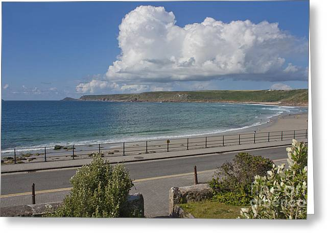 Sennen Cove Greeting Cards - The Sweep of Sennen Cove Greeting Card by Terri  Waters