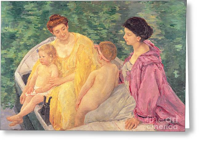 Kids Artist Greeting Cards - The Swim or Two Mothers and Their Children on a Boat Greeting Card by Mary Stevenson Cassatt