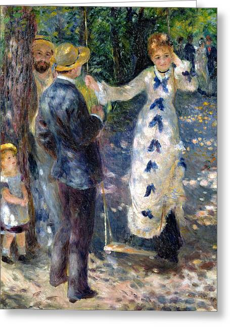1876 Greeting Cards - The Swing Greeting Card by Pierre Auguste Renoir