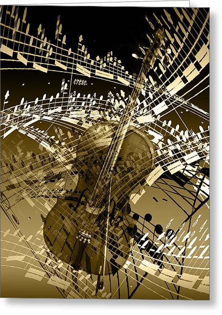 Brown Toned Art Greeting Cards - The Swirl of Music in Sepia Greeting Card by Randall Nyhof