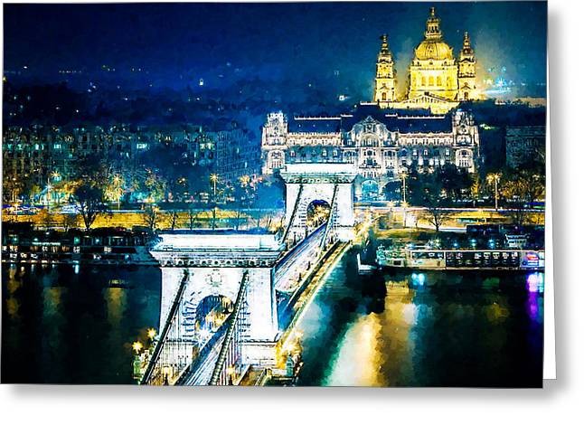 Famous Bridge Greeting Cards - The Szechenyi Chain Bridge Greeting Card by Lanjee Chee