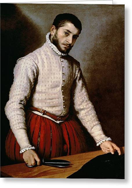 16th Century Greeting Cards - The Tailor Greeting Card by Giovanni Battista Moroni