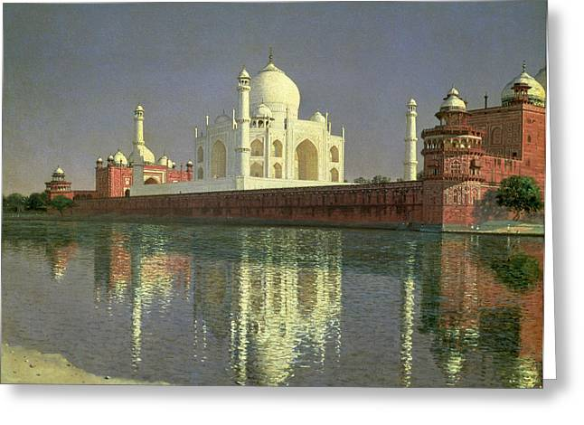 Mirror Reflection Greeting Cards - The Taj Mahal Greeting Card by Vasili Vasilievich Vereshchagin