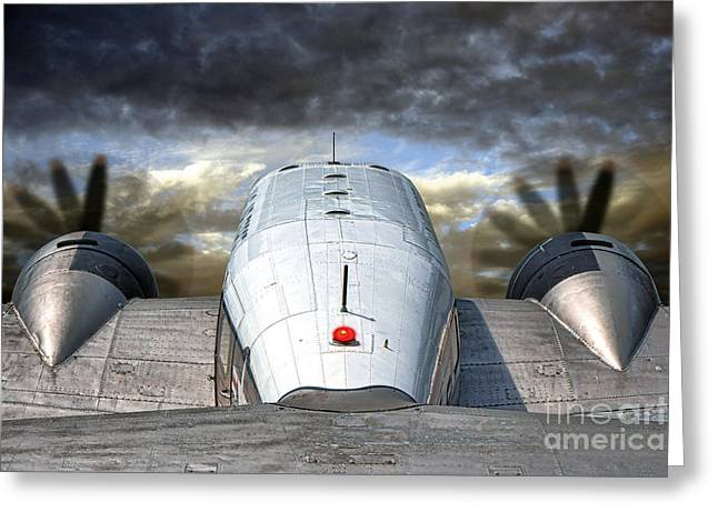 Vintage Air Planes Greeting Cards - The Takeoff Greeting Card by Olivier Le Queinec