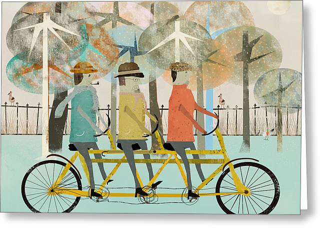 Quirky Greeting Cards - The Tandem Trio Greeting Card by Bri Buckley