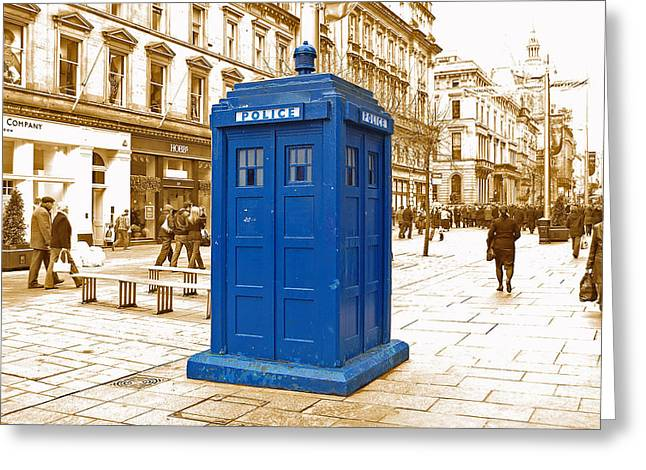 Rd Greeting Cards - The Tardis Greeting Card by Rob Hawkins