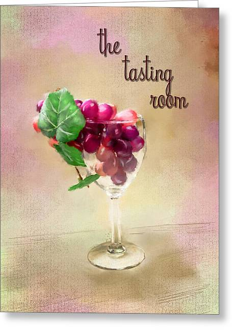 Wine-glass Greeting Cards - The Tasting Room Greeting Card by Mary Timman