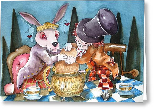 Mad Hatter Paintings Greeting Cards - The Tea Party Greeting Card by Lucia Stewart
