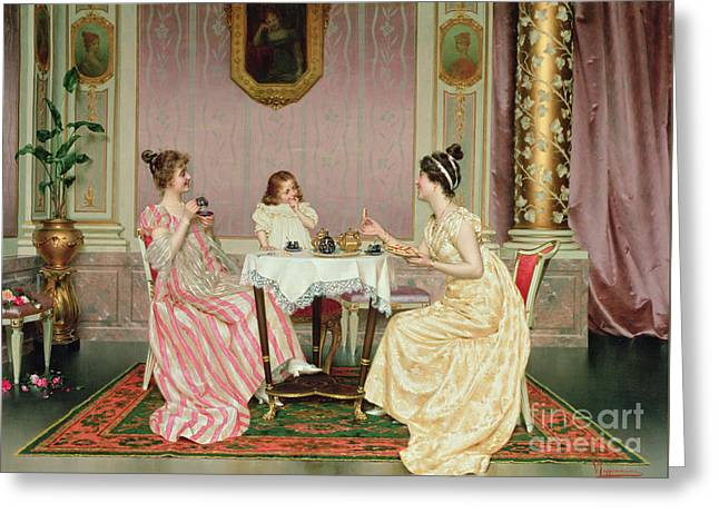The Tea Party Greeting Card by Vittorio Reggianini