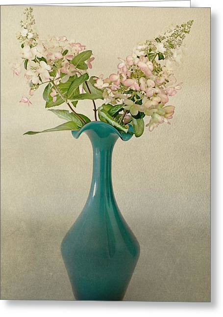 Glass Vase Greeting Cards - The Teal Glass Vase Greeting Card by CJ Anderson