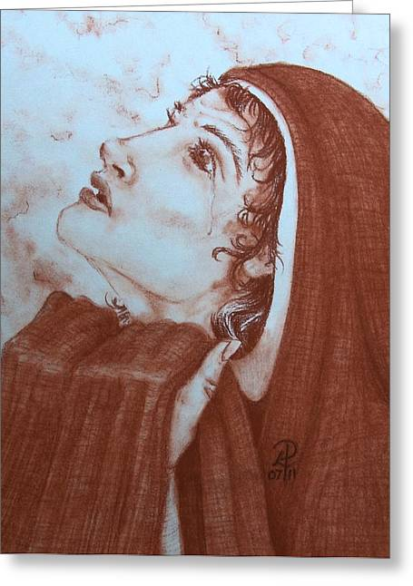 Recently Sold -  - Abstract Digital Pastels Greeting Cards - The Tear of Madonna Greeting Card by Patsy Fumetti  - SouthWest Design Studio