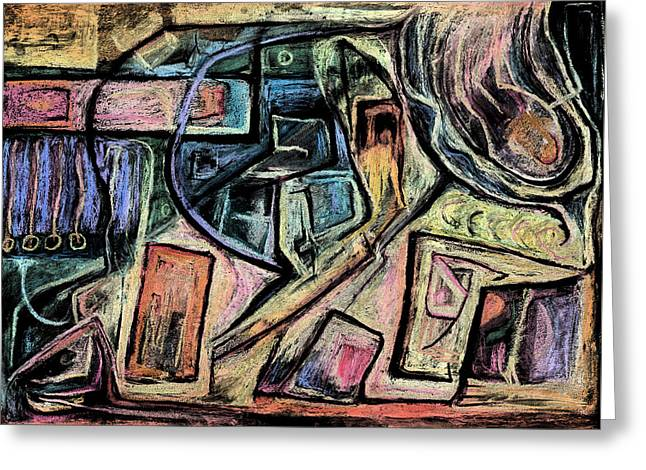 Abstract Expressionist Greeting Cards - The Teleporter Greeting Card by Tom Kecskemeti