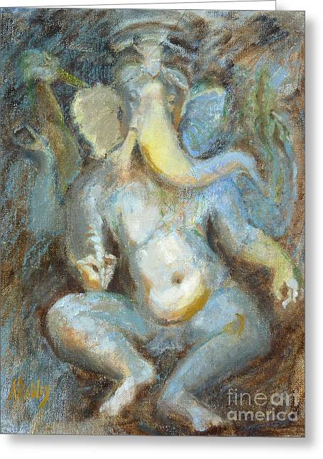 The Temple Of Love Ganesh Greeting Card by Ann Radley