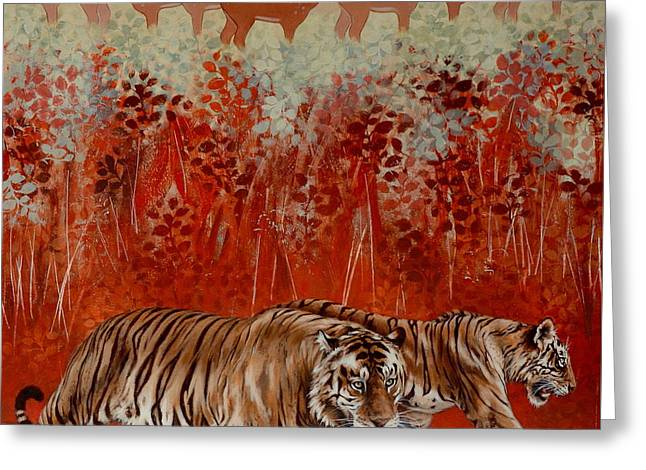 Wildcats Paintings Greeting Cards - The Temple Tigers Greeting Card by Cynthia House