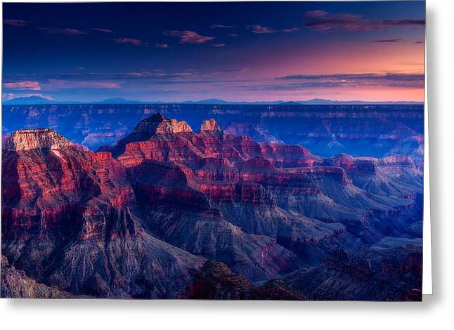Evening Lights Greeting Cards - The Temples and Bright Angel Canyon Greeting Card by Dan Holmes