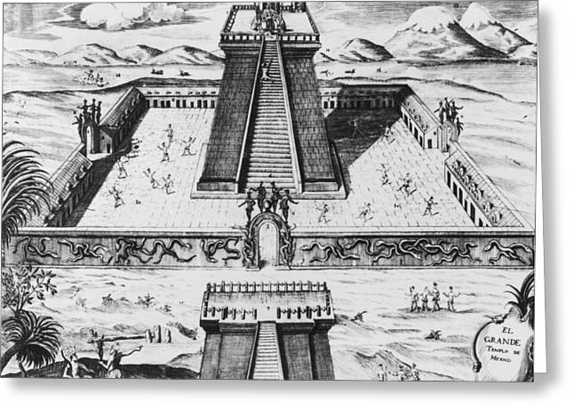 The Templo Mayor At Tenochtitlan Greeting Card by Mexican School