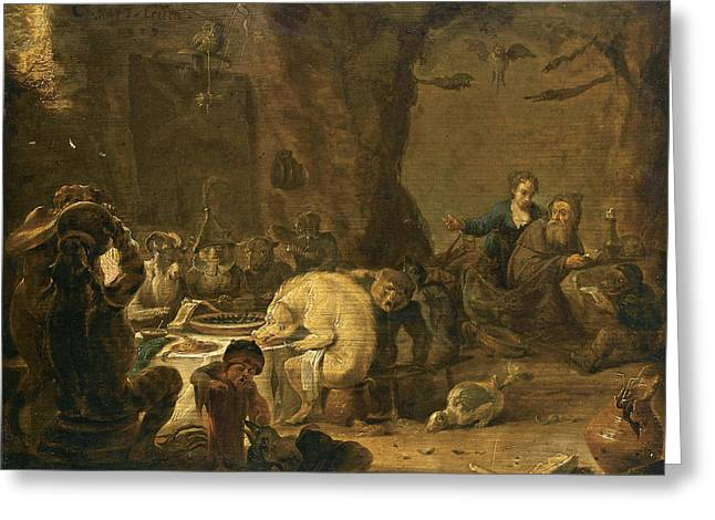 Bible Scene Greeting Cards - The Temptation Of Saint Anthony Greeting Card by Cornelis Saftleven