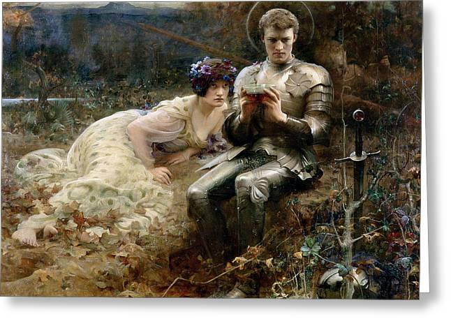 Knighted Greeting Cards - The Temptation of Sir Percival Greeting Card by Arthur Hacker