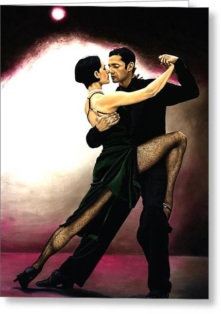Embracing Greeting Cards - The Temptation of Tango Greeting Card by Richard Young