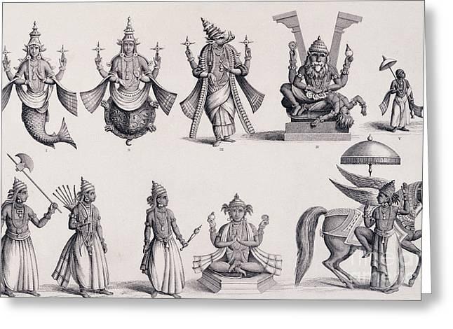 The Ten Avatars Or Incarnations Of Vishnu Greeting Card by English School