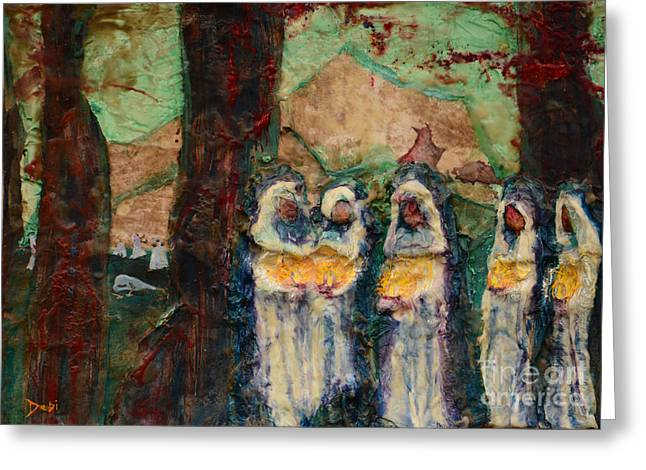 Parable Greeting Cards - The Ten Virgins Greeting Card by Debi Bond