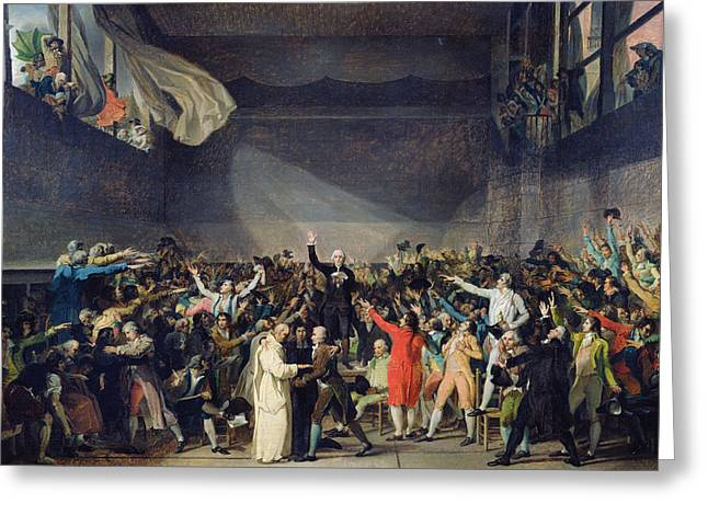 Jacques Louis (1748-1825) Paintings Greeting Cards - The Tennis Court Oath Greeting Card by Jacques Louis David