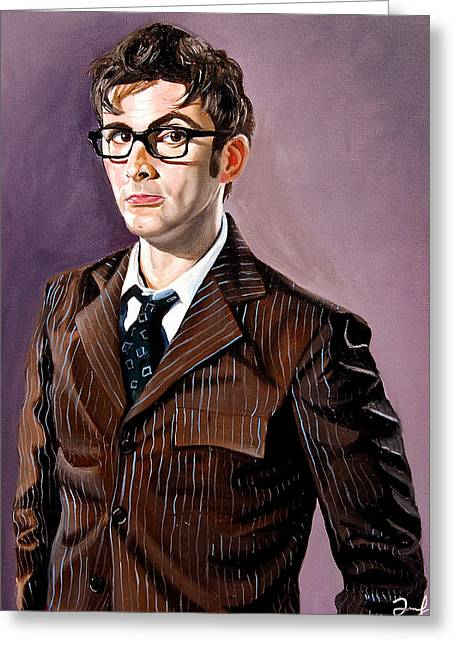 Pin Greeting Cards - The Tenth Doctor and his TARDIS Greeting Card by Emily Jones