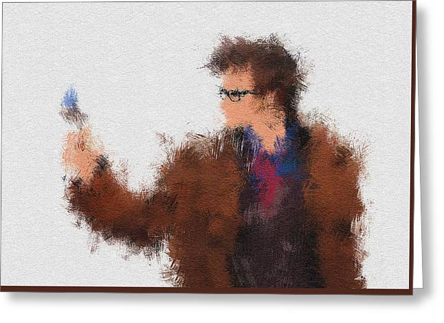 Superheroes Paintings Greeting Cards - The Tenth Doctor Greeting Card by Miranda Sether