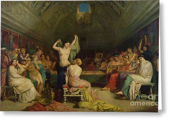 Seductress Greeting Cards - The Tepidarium Greeting Card by Theodore Chasseriau