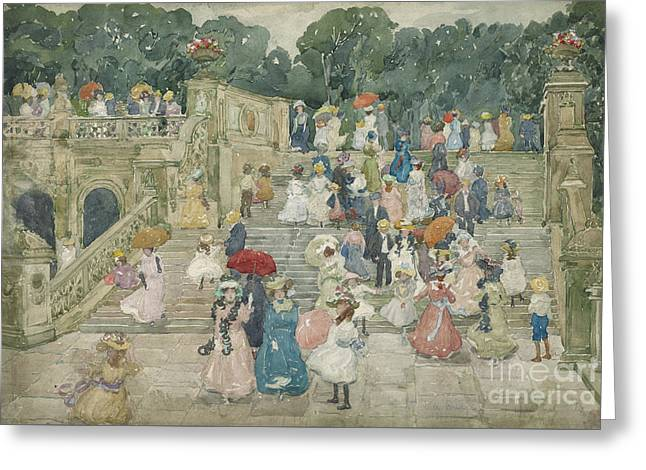 The Terrace Bridge, Central Park Greeting Card by Maurice Brazil Prendergast