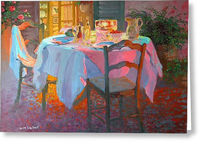 Empty Chairs Greeting Cards - The Terrace Greeting Card by William Ireland