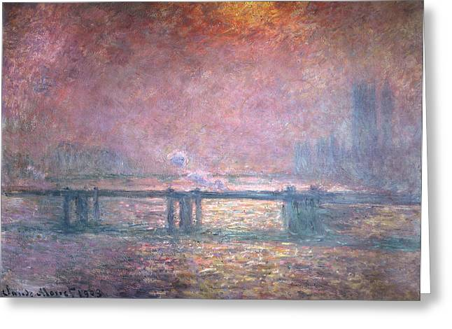 Thames River Greeting Cards - The Thames at Charing Cross Greeting Card by Claude Monet