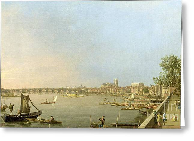 1768 Greeting Cards - The Thames from the Terrace of Somerset House Greeting Card by Giovanni Antonio Canaletto