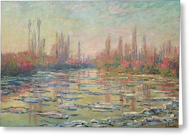 Les Greeting Cards - The Thaw on the Seine Greeting Card by Claude Monet