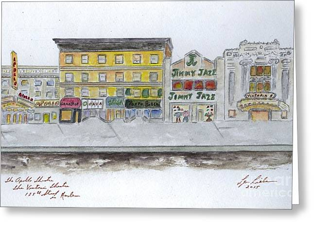 Theatre's Of Harlem's 125th Street Greeting Card by AFineLyne