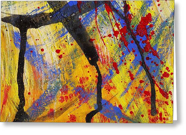 Thin Paintings Greeting Cards - The Thin Man - Abstract Greeting Card by Ruth Gonzalez
