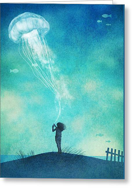 Floating Girl Greeting Cards - The Thing About Jellyfish Greeting Card by Eric Fan