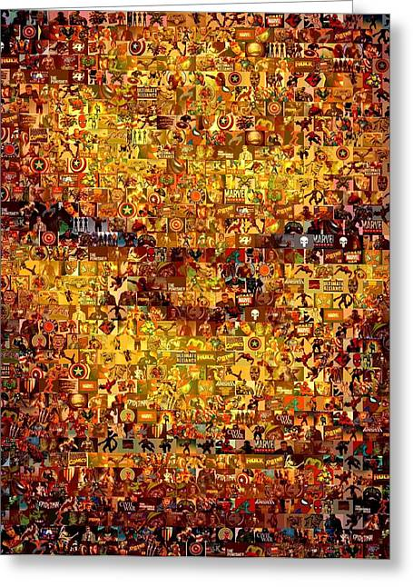 Montage Drawings Greeting Cards - The Thing mosaic Greeting Card by Paul Van Scott