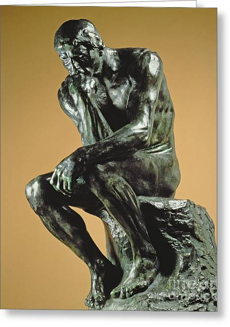 The Thinker Greeting Card by Auguste Rodin
