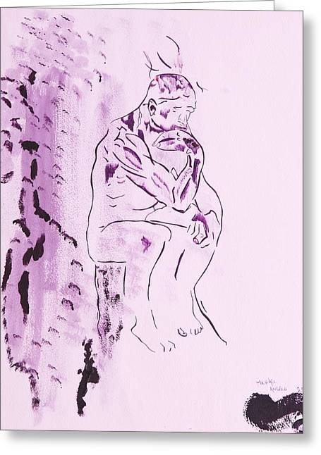 The Thinker Greeting Card by Contemporary Michael Angelo